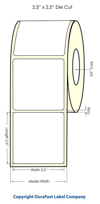 "LX900 2.5"" x 2.5"" Inkjet NP High Gloss Paper Labels 950/Roll  - 74857"