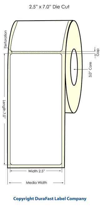 "LX900 2.5"" x 7"" Inkjet High Gloss Paper Labels 350/Roll  - 74893"