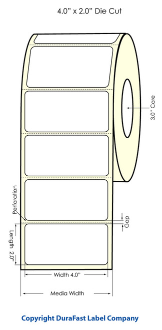 "LX900 4"" x 2"" Inkjet High Gloss Paper Labels 1100/Roll  - 74805"
