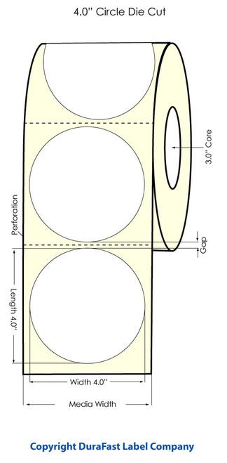 "LX900 4"" Inkjet Circle High Gloss Paper Labels 600/Roll  - 74827"