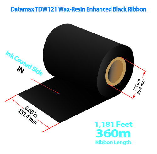 "Datamax  6"" x 1181 feet TDW121 Wax-Resin Enhanced Ribbon with Ink IN | 12/Ctn"