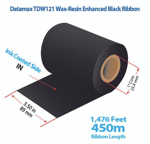 "Datamax 600/800 3.5"" x 1476 feet TDW121 Wax-Resin Enhanced Ribbon with Ink IN   24/Ctn"
