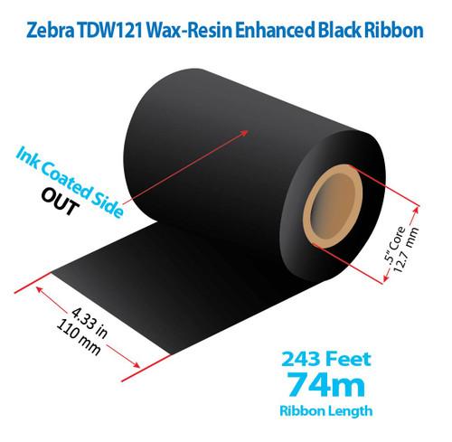 "Zebra Eltron 2844 4.33"" x 243 feet TDW121 Wax-Resin Enhanced Ribbon with Ink OUT | 24/Ctn"