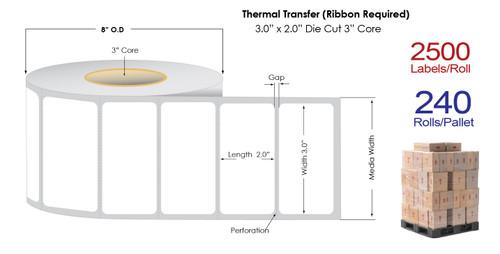 "Thermal Transfer 3"" x 2"" Matte Paper Labels 2500/Roll - 3"" Core | 8"" OD / 8/Carton"