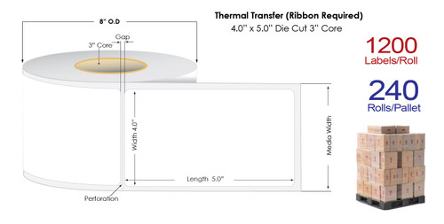 "Thermal Transfer 4"" x 5"" Matte Paper Labels 1200/Roll - 3"" Core 