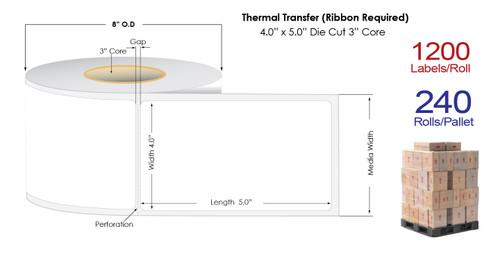 "Thermal Transfer 4"" x 5"" Matte Paper Labels 1200/Roll - 3"" Core | 8"" OD / 4 Rolls/Carton"