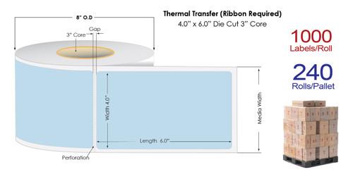 "Thermal Transfer 4"" x 6"" BLUE Matte Paper Labels 1000/Roll - 3"" Core | 8"" OD / 4 Rolls/Carton"