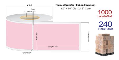 """Thermal Transfer 4"""" x 6"""" PINK Matte Paper Labels 1000/Roll - 3"""" Core 