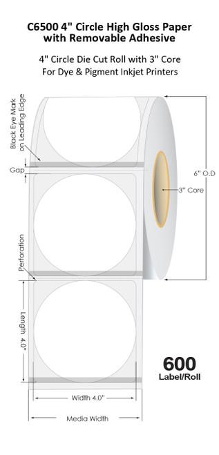 "C6500 4"" Circle Inkjet Matte Paper Die Cut Label Roll | 600/Roll | 3"" Core/6""OD"