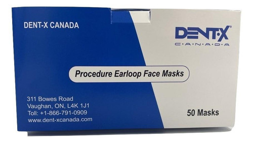 Dent-X Medical Earloop Face Masks|50 Pack|FDA and Health Canada Approved