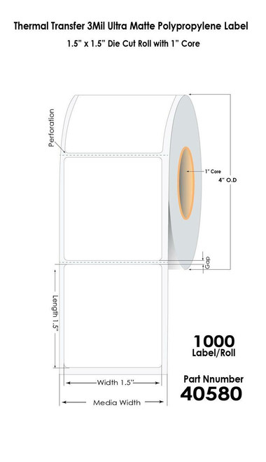 "Thermal Transfer 1.5"" x 1.5"" Ultra Matte Polypropylene Labels 1000/Roll 1"" Core"