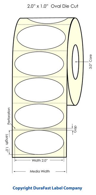 "LX900 2"" x 1"" Inkjet OVAL High Gloss Paper Labels 2200/Roll  - 74854"