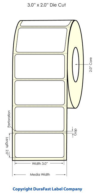 "LX400 3"" x 2"" Inkjet High Gloss Labels 900/Roll  - 921005"