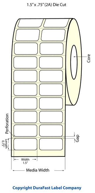 "TM-C3500 1.5"" x .75"" Inkjet (2A) High Gloss Paper Label 2750/Roll  - 811007"
