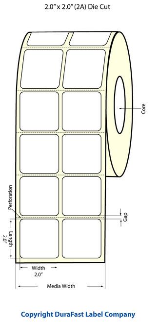 "TM-C3500 2"" x 2"" Inkjet (2A) High Gloss Paper Label 1130/Roll  - 811012"