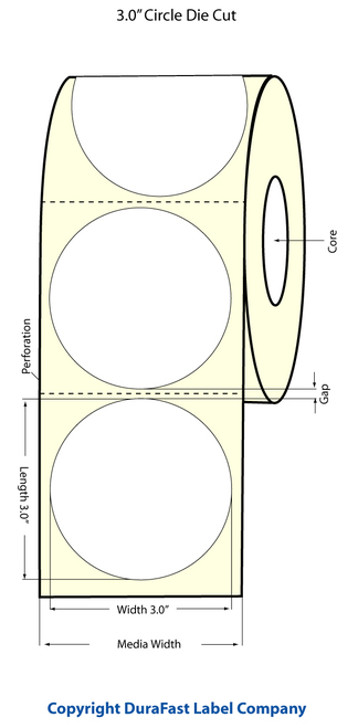 "TM-C3500 3"" Circle (1A) Inkjet High Gloss Paper Label 380/Roll  - 811030"