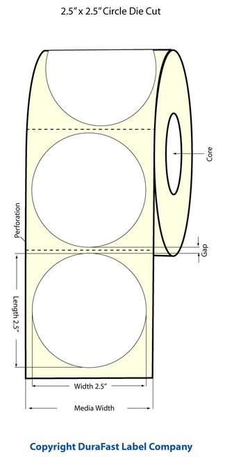 "TM-C3500 2.5"" Circle (1A) Inkjet High Gloss Paper Label 450/Roll  - 811029"