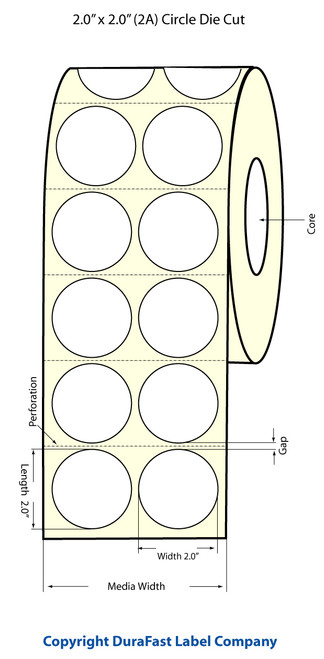 "TM-C3500 2"" Circle (2A) Inkjet High Gloss Paper Label 1120/Roll  - 811028"