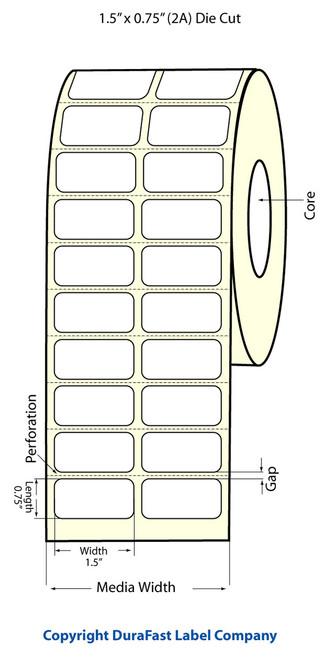 """LX900 1.5"""" x 0.75"""" Inkjet (2A) Matte BOPP Labels 2750/Roll  - 933023"""