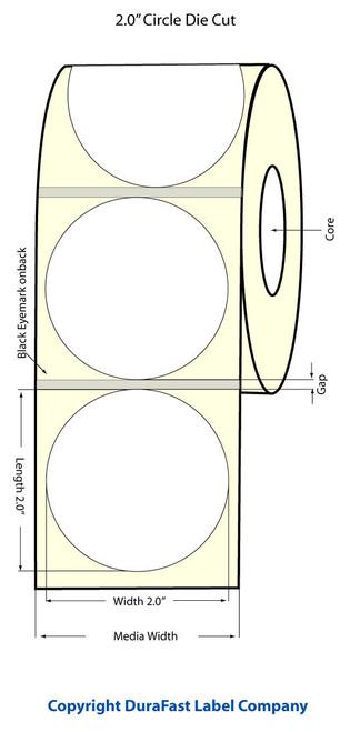 "LX900 2"" Circle NP Inkjet Glossy BOPP Labels 1200/Roll  - 934025"