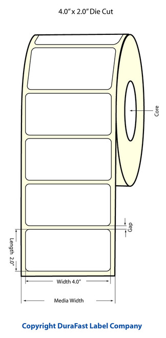 "LX500 4"" x 2"" Inkjet NP(tea) Matte Paper Label 800/Roll  - 922006"