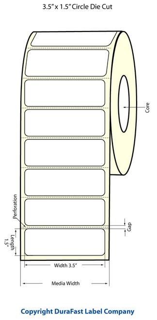 """TM-C3500 3.5"""" x 1.5"""" Inkjet High Gloss Paper Label 730/Roll  - 811035"""
