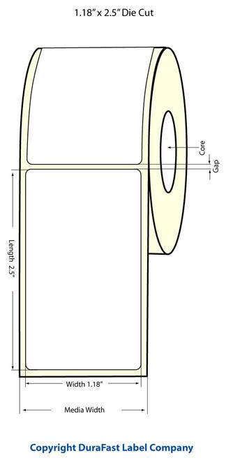 "TM-C3500 1.18"" x 2.5"" Inkjet NP High Gloss Paper Label 1000/Roll  - 811036"