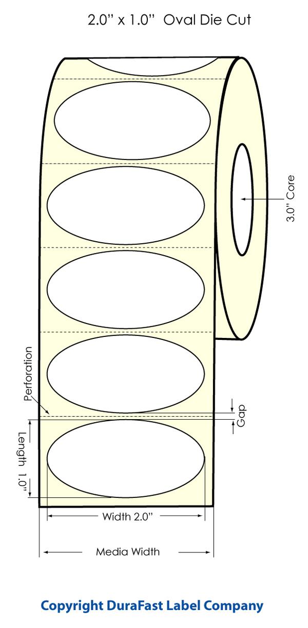 lx900 2 x 1 inkjet oval high gloss paper labels 2200 roll