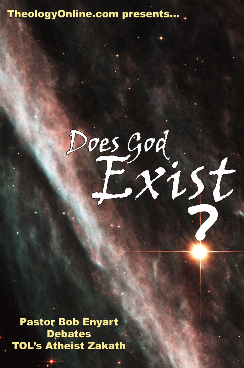 Does God Exist? paperback cover. Bob's debate is available in PDF for text-to-speech software.