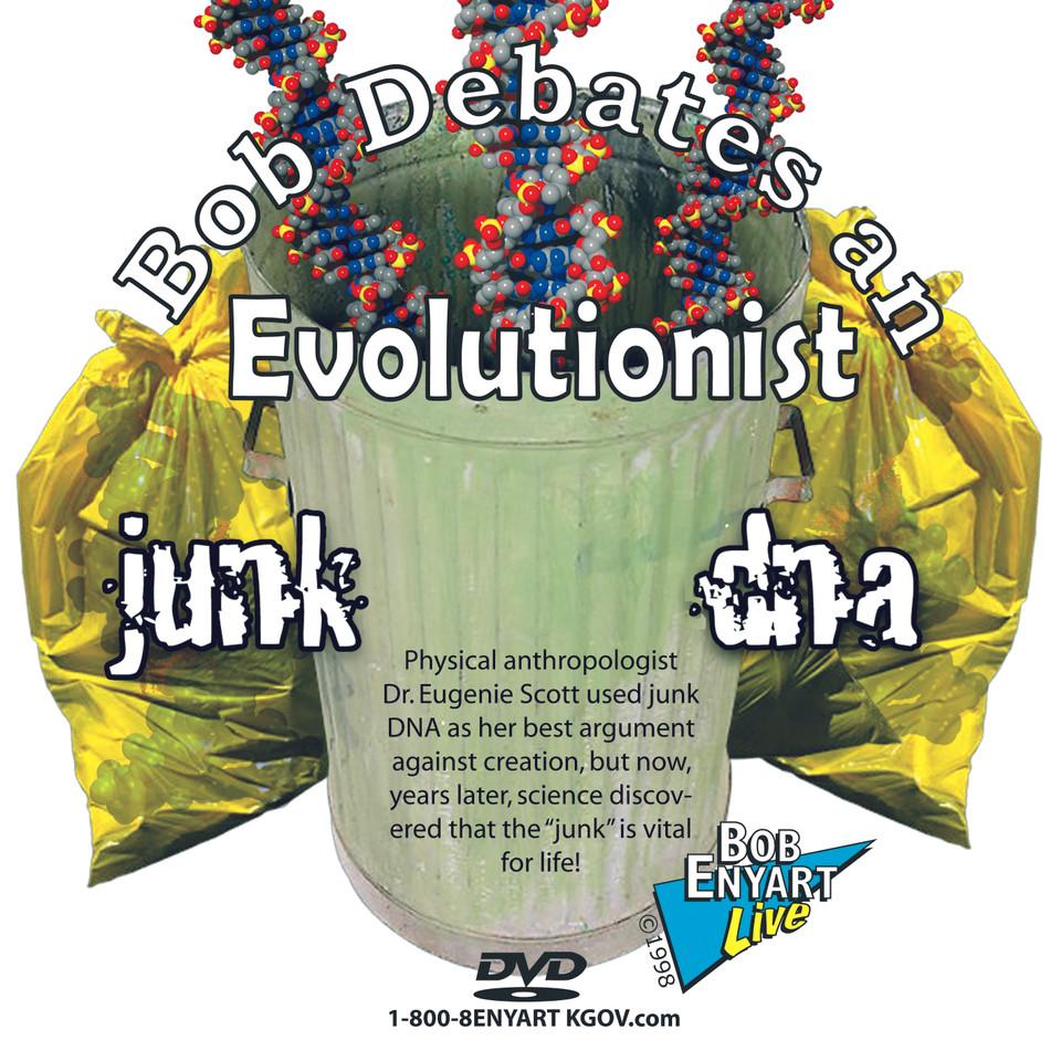 DVD of creationist Bob Enyart debating Eugenie Scott, Ph.D. on evolution and junk DNA