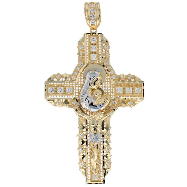 Big Huge Solid Gold CZ Cross Jesus Mary Pendant (JL# P1398)