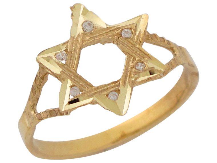 Real Diamond Accented Six Pointed Star of David Ring (JL#10390)
