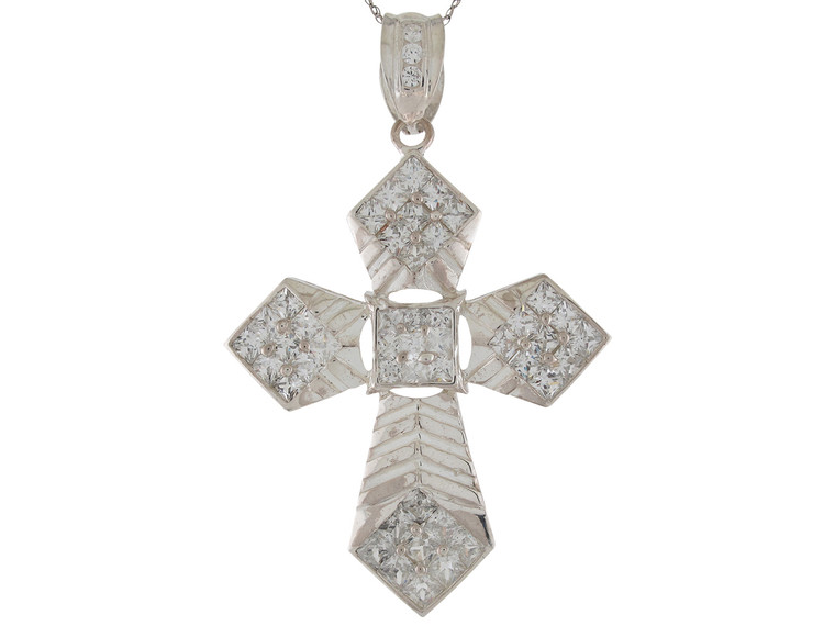 Dazzling Accented High Polish Huge Passion Cross Pendant (JL#9872)