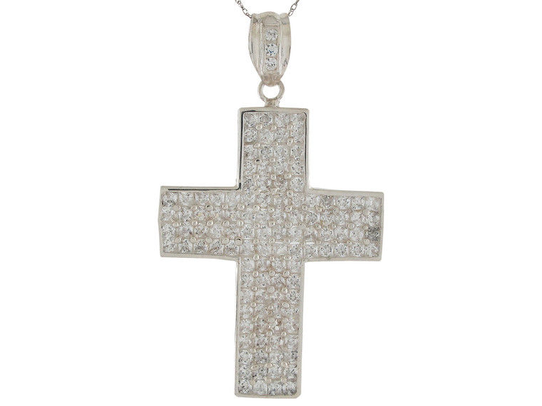 Brilliant Accented Huge Traditional Latin Cross Pendant (JL#9871)