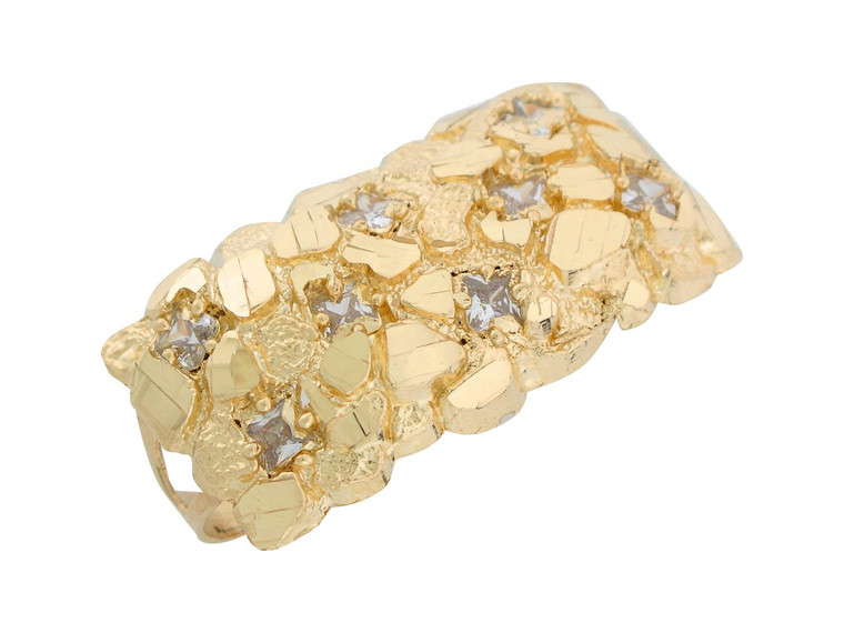Diamond Cut Nugget Style Two Finger Mens Ring (JL#8301)