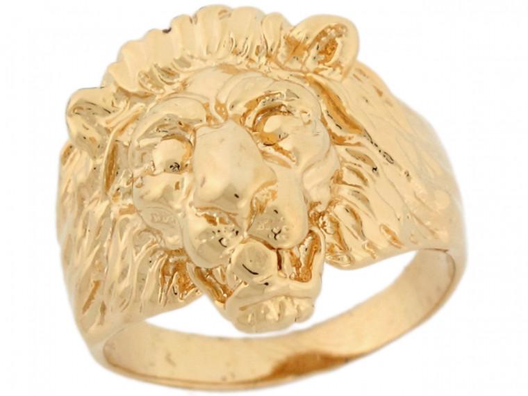 Solid Lion Head Fancy Mens Ring (JL#5302)