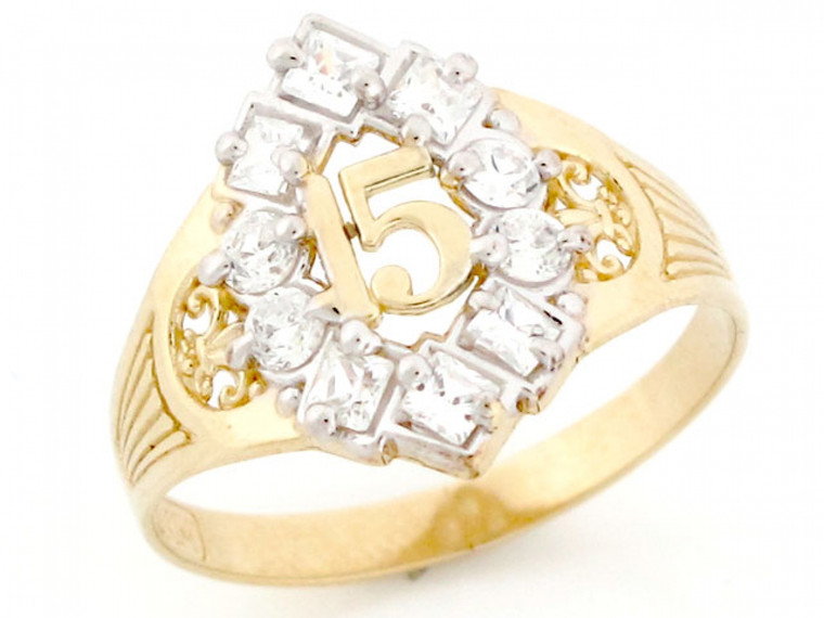 Gold CZ 15 Anos Quinceanera Simulated April Birthstone Ring (JL#2508)