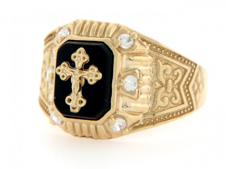 Crucifix CZ Religious Mens Ring (JL#2294)