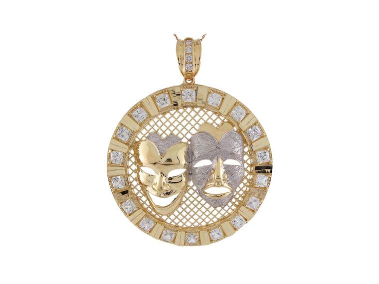 Two-Tone Gold CZ Tragedy Comedy Drama Mask Diamond Cut 7.3cm Wide Pendant (JL#9415)