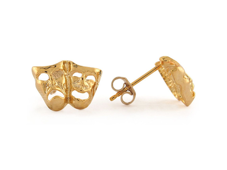 1.3cm Comedy and Tragedy Drama Masks Post Stud Earrings (JL#8776)
