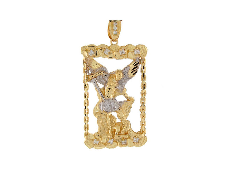 Two Tone Gold Large Saint Michael Religious Charm Pendant (JL#8031)