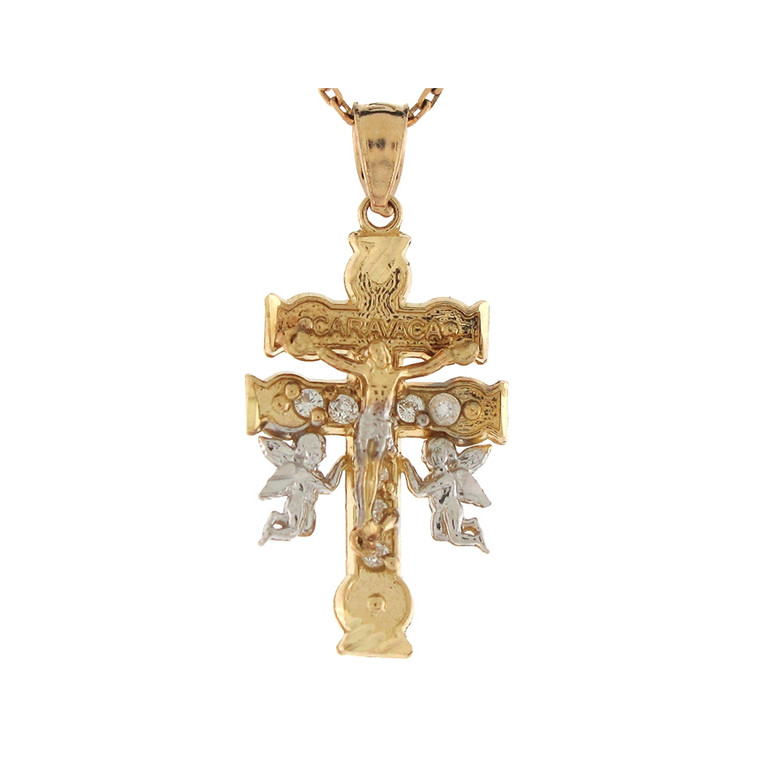 Two-Tone Gold Round Cut Jesus and Angels Caravaca Cross Pendant (JL#7737)