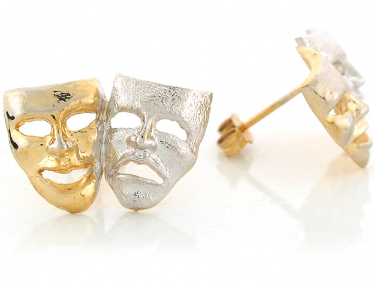 Real Two Tone Gold 1.39cm X 2.05cm Drama Face Theater Actor Masks Post Earrings (JL#6395)