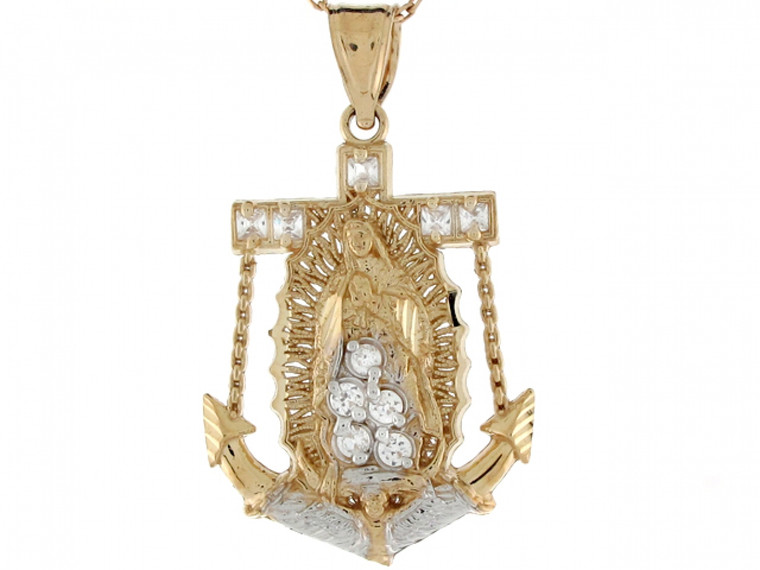 Two Toned Real Gold Virgin Mary Guadalupe CZ Anchor Charm Pendant (JL#4180)
