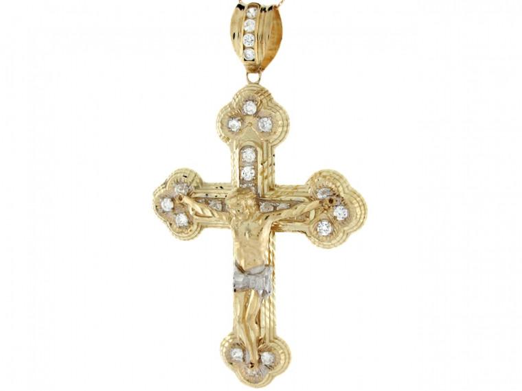 Two-Tone Gold Fleur De Lis Jesus Christ Crucifix Cross CZ Big Pendant (JL#3965)