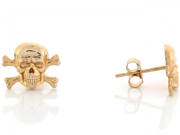 1.1cm Skull and Crossbones Pin Earrings (JL# E3453)