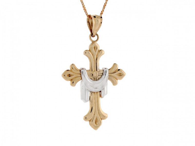 Two-Tone Gold Cross with Shroud Religious Pendant (JL#2355)
