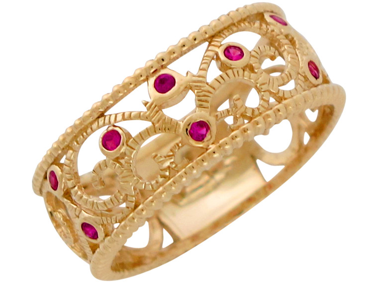 Real Genuine Gemstone Accented Vine Filigree Design Ladies Ring (JL#10856)