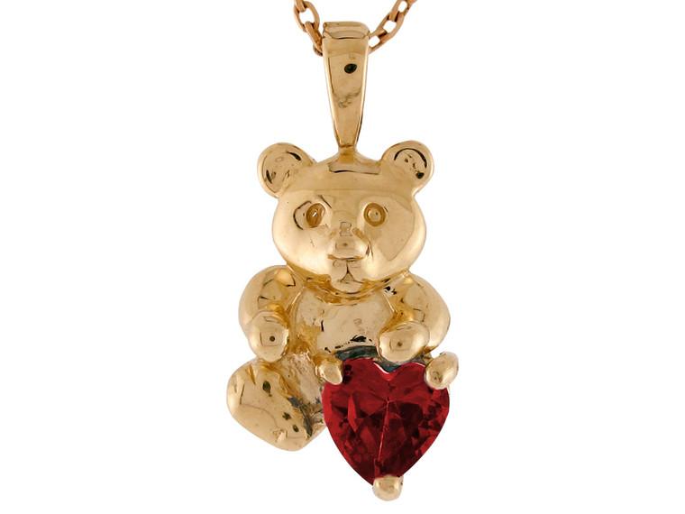 Heart shaped Simulated Birthstone Cute Bear Floating Charm Pendant (JL#9592)