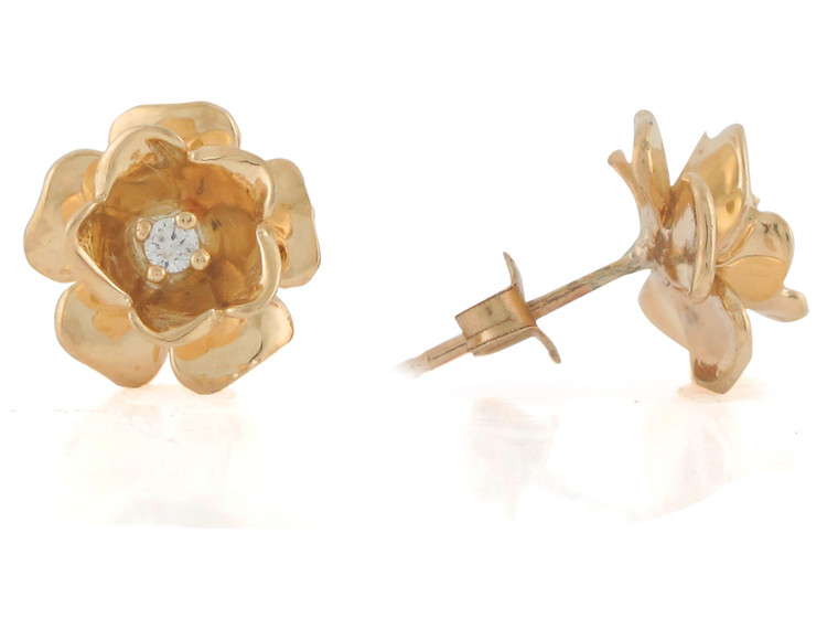 Genuine Diamond Set Ladies Gorgeous Flower Post Earrings (JL#10812)